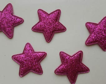 5 applique stars fuchsia glitter 34 mm