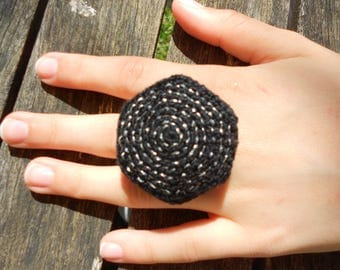Black with silver spiral ring