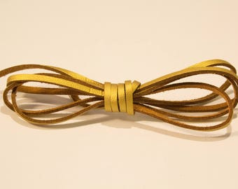 Suede 3 mm gold leather cord