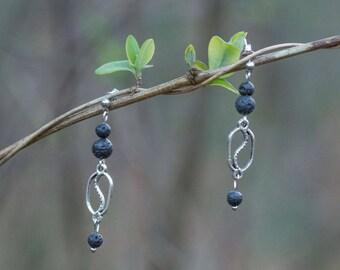 Earrings Silver Oval bead ear shape S 3 lava beads