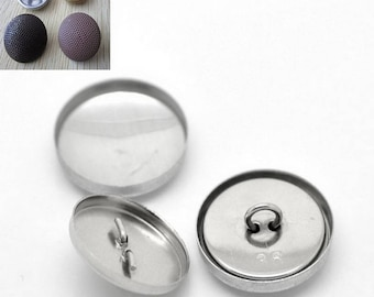 Set of 8 sets of buttons to cover - 21mm - aluminum