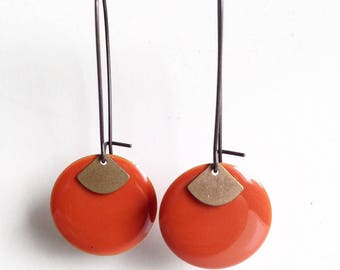 Earrings - elegant - Orange