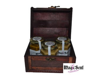 Beautiful mustard chest as a gift, with 3 x 110 ml mustard