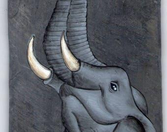 elephant acrylic painting on Slate