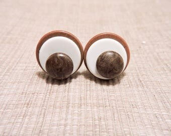 Vintage Round Wood and White Plastic Clip On Earrings