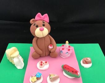 Teddy Bears Picnic Fondant Cake Topper