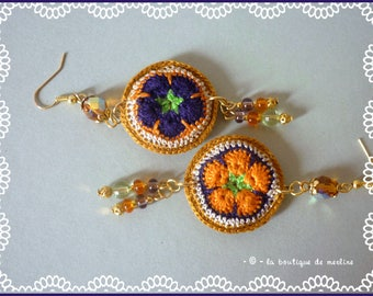 Costume jewelry: Bohemian earrings, crocheted and beaded