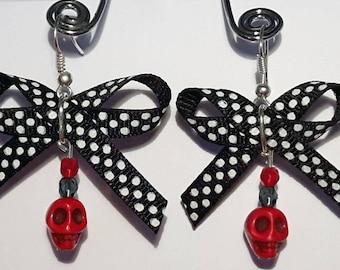 Skull bow earrings