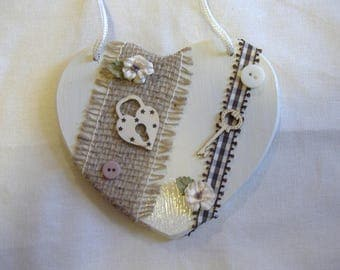 Beige and Brown romantic heart wall decor