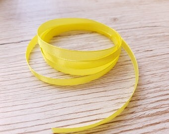 Yellow 6 mm satin ribbon