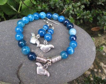 Set bracelet and earrings in blue agate and heart charm
