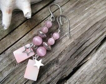 Earrings ' earrings mother of Pearl and pink cat eye