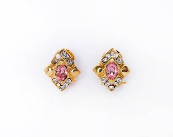 Earrings Golden Rhombus with Swarovski crystals