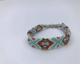 Fancy Diamond Embroidery Floss Woven Braided Friendship Bracelet