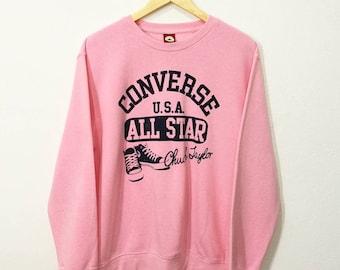RARE!! Vintage Converse USA All Star Chuck Taylor Big Spellout Shoes Art Sweatshirt Jumper Pullover