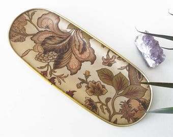Vintage floral design fiberglass tray | Mid Century Modern, seventies