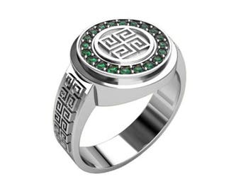 Slavic Amulet Uzhich Dushevnic Men Ring Sterling Silver 925 SKU30225