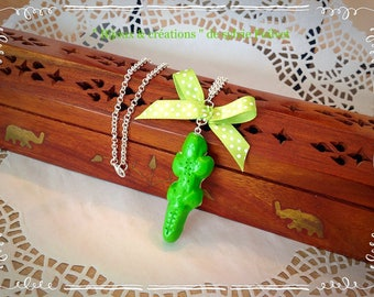 Candy Apple green crocodile Necklace: