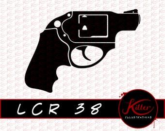 38 Special | Gun Vector | .38 Clip Art | Firearm | Cut File| Instant Digital Download | Svg | Png | Pdf | Jpg | Eps | Dxf |