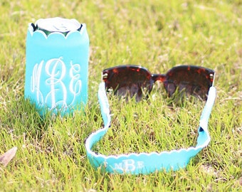 Scalloped Sunglass Strap Set Scalloped Koozie,Personalized gifts for her,Summer time,Beach gear,Sunglasses,Drink cooler,Personalized Koozie