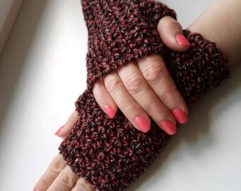 Fingerless gloves, wristwarmer gloves, winter accessory, winter gloves, hand crochet, mittens, Crocheted Gloves red black, autumn gloves