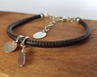 Bracelet adjustable leather cord, feather bail and clasp 925 for women