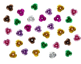 Bag of 60 beads Flower Pink multicolor aluminum - free shipping