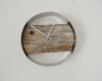 Clock modern wood and stainless steel