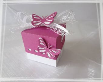 Square Butterfly baptism favors box