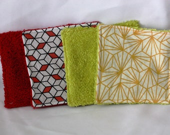 Set of 10 wipes 10cm of yellow and Red