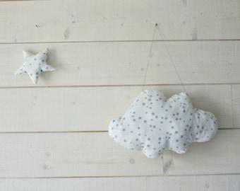 Large cloud pillow White Star hanging 44 x 29 cm - cotton - baby room decor, kids