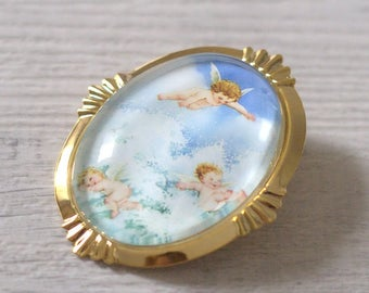 Angels pendant brooch - Vintage Victorian - Christmas gift - glass Cabochon