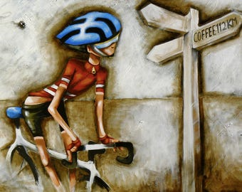 """Cycling bikes le tour  painting print poster for glass frame 36"""" x 24"""" By Andy Baker Signed Alastair"""