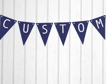 Navy & White Custom Personalised Flag Bunting - Birthday Wedding Engagement Baby Shower Baptism Hens Bucks Farewell Party Banner Sign