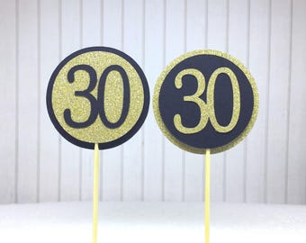 """30th Birthday Cupcake Toppers - Gold Glitter & Black """"30"""" - Set of 12 - Elegant Cake Cupcake Age Topper Picks Party Decorations"""