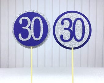 """30th Cupcake Toppers - Silver Glitter & Navy Blue """"30"""" - Set of 12 - Elegant Birthday Cake Cupcake Age Topper Picks Party Decorations"""