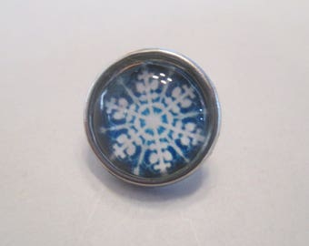 x 1 Snap - button 12mm - snowflake snow - model 2 - silver