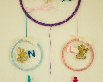 Dream catcher personalized MOM name + kids duo