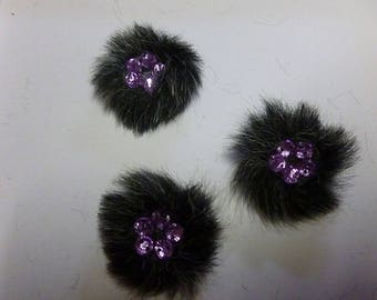 faux fur jewelled decoration