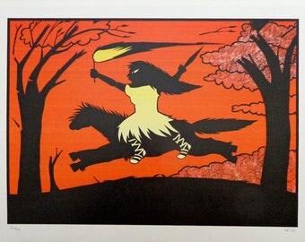 Decoupage, paper cut, customs Rousseau, wild animal, forest, flame