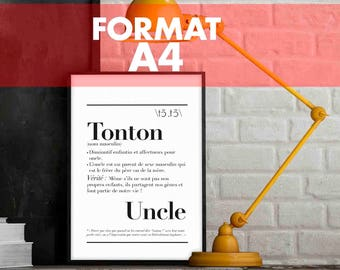 """Definition of """"Uncle"""" - A4 size poster: 21 x 29.7 cm"""