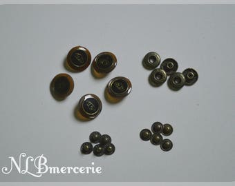 20 mm set of 5 snap buttons