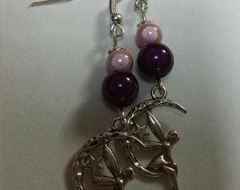 Romantic pink and Purple Fairy earrings