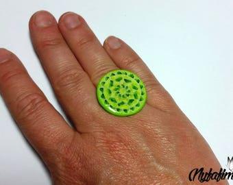 Green mandala, polymer clay ring