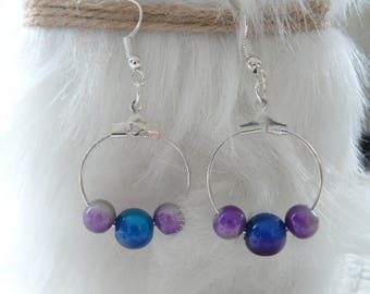 "Earrings Creole style ""Purple and blue"""