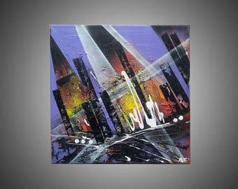 "Art deco design ""Gotham city"" painting"