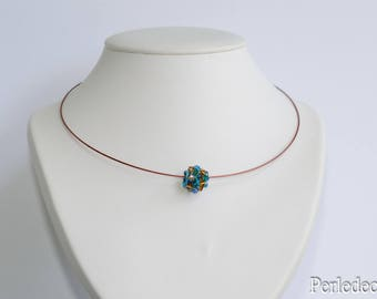 """Venusia"" tone light blue-Brown Crystal beaded Bead Necklace"
