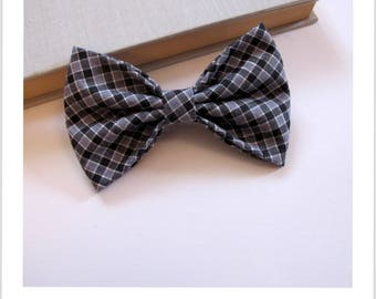Bow tie and clip hair 2 in 1 black and gray gingham