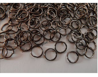 200 6 mm METAL jump rings silver dark - creating jewelry beads