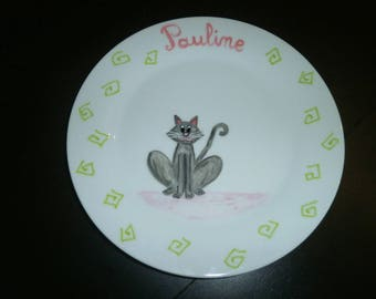 """custom painted plate """"sitting cat"""" color and pattern choice"""